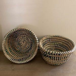 Set of 2 Pottery Barn baskets farmhouse